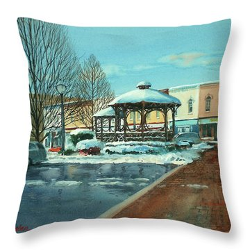 Triangle Park In Winter Throw Pillow
