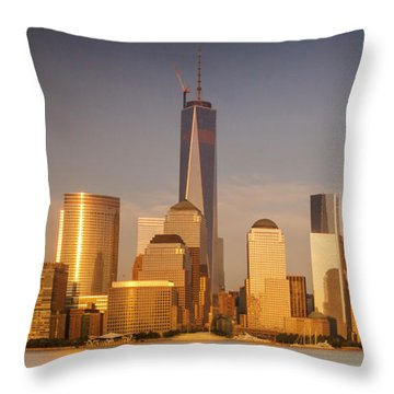 Throw Pillow featuring the photograph New World Trade Memorial Center And New York City Skyline Panorama by Ranjay Mitra