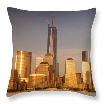 New World Trade Memorial Center And New York City Skyline Panorama Throw Pillow