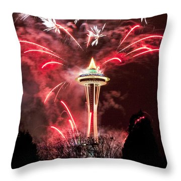 New Years At The Space Needle Throw Pillow