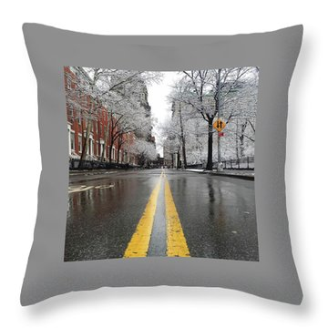 New York 1st Snow Throw Pillow