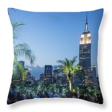 Throw Pillow featuring the photograph New York 230 Fith Rooftop Bar  by Juergen Held
