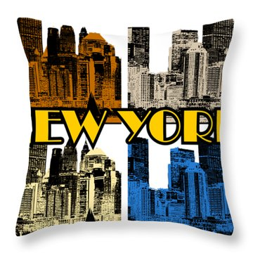 New York 4 Color Throw Pillow