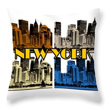 New York 4 Color Throw Pillow