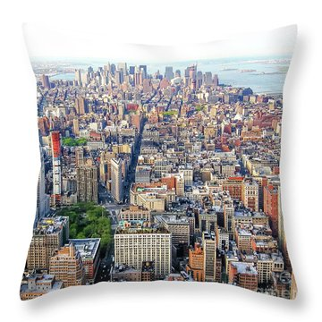 New York Aerial View Throw Pillow