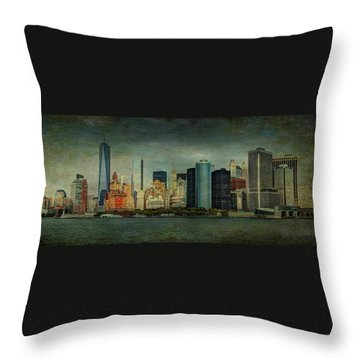 Throw Pillow featuring the mixed media New York After Storm by Dan Haraga