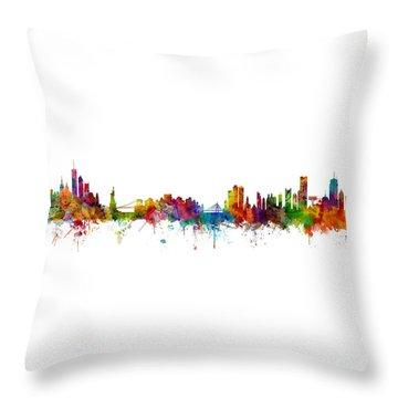 New York And Boston Skyline Mashup Throw Pillow