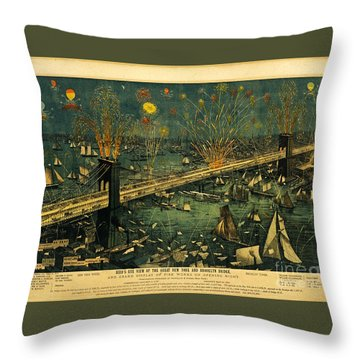 Throw Pillow featuring the photograph New York And Brooklyn Bridge Opening Night Fireworks by John Stephens