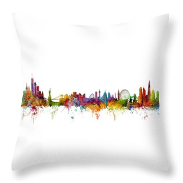 New York And London Skyline Mashup Throw Pillow by Michael Tompsett