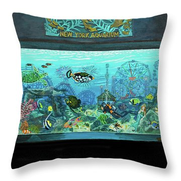 New York Aquarium Throw Pillow