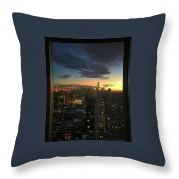 New York At Sunset Throw Pillow