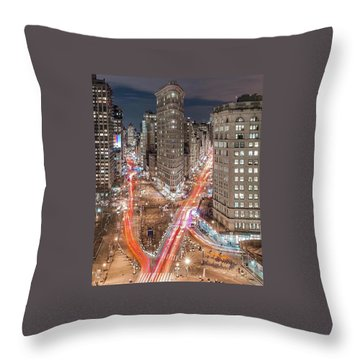 New York Big City Rush Hour Throw Pillow