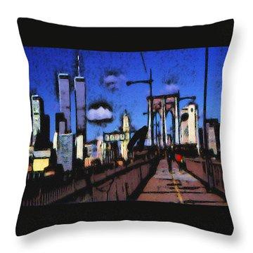 New York Blue - Modern Art Painting Throw Pillow