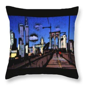 New York Blue - Modern Art Throw Pillow by Art America Gallery Peter Potter