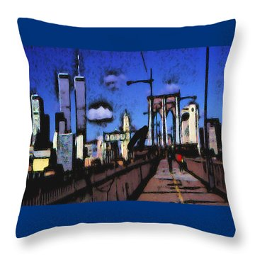 New York Blue - Modern Art Throw Pillow