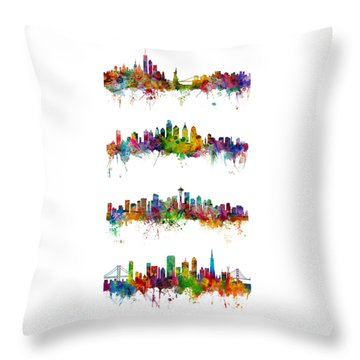 New York, Philadelphia, Seattle And San Francisco Skylines Throw Pillow