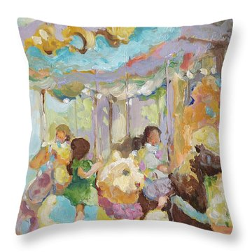 New York Carousel Throw Pillow