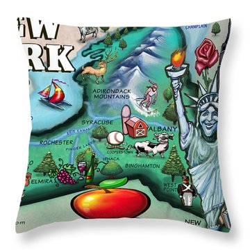 New York Cartoon Map Throw Pillow