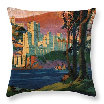 New York Central Lines - West Point - Retro Travel Poster - Vintage Poster Throw Pillow