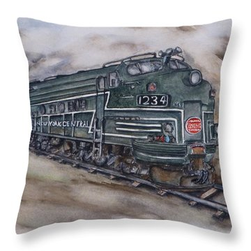 New York Central Train Throw Pillow by Kelly Mills