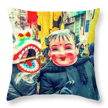 New York Chinatown Throw Pillow