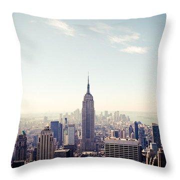 New York City - Empire State Building Panorama Throw Pillow