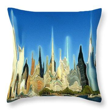 New York City Skyline 2100 - Modern Artwork Throw Pillow