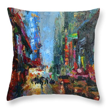 New York City 42nd Street Painting Throw Pillow by Svetlana Novikova