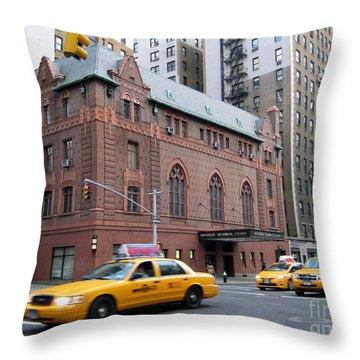 New York City Yellow Cab  - Amsterdam -  West Seventy Sixth Throw Pillow