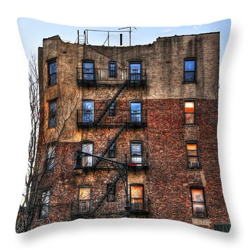 New York City Apartments Throw Pillow by Randy Aveille