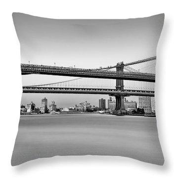New York City Bridges Bmw Bw Throw Pillow by Susan Candelario