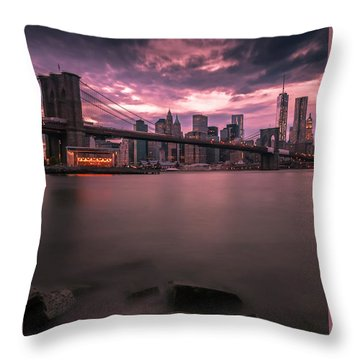 New York City Brooklyn Bridge Sunset Throw Pillow by Ranjay Mitra