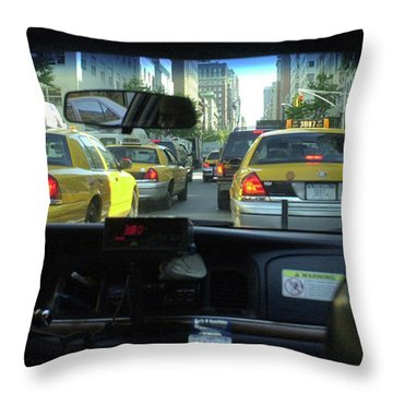 New York City Cab Ride Throw Pillow