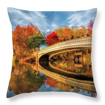 New York City Central Park Bow Bridge Throw Pillow