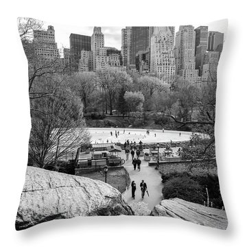 New York City Central Park Ice Skating Throw Pillow