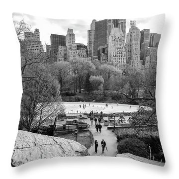 Throw Pillow featuring the photograph New York City Central Park Ice Skating by Ranjay Mitra