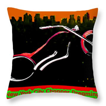 New York City Chopper Dreaming Red Jgibney The Museum Zazzle Gifts Fa Throw Pillow by The MUSEUM Artist Series jGibney
