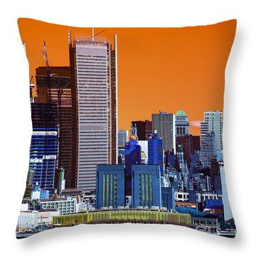 Throw Pillow featuring the photograph New York City Colors Pop Art by John Rizzuto