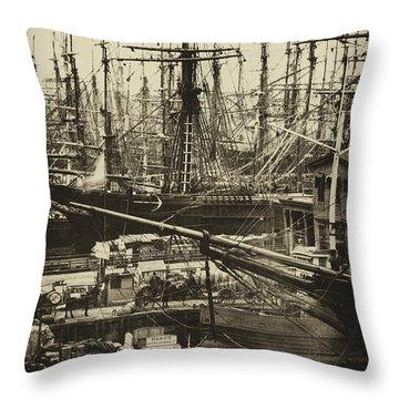 New York City Docks - 1800s Throw Pillow