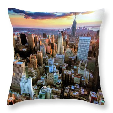 New York City Downtown Manhattan Throw Pillow