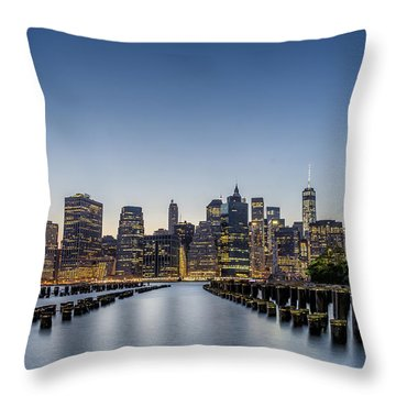 Throw Pillow featuring the photograph New York City Dusk by Rafael Quirindongo