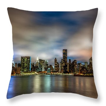 Throw Pillow featuring the photograph New York City Evening Skyline  by Rafael Quirindongo