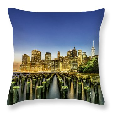 Throw Pillow featuring the photograph New York City From Brooklyn by Rafael Quirindongo