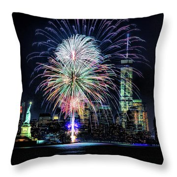 New York City Harbor Fireworks Throw Pillow