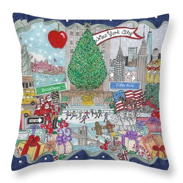 New York City Holiday Throw Pillow