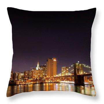 New York City Lights At Night Throw Pillow by Az Jackson