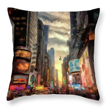 Throw Pillow featuring the photograph New York City Lights by Lois Bryan