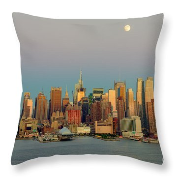 New York City Moonrise I Throw Pillow by Clarence Holmes