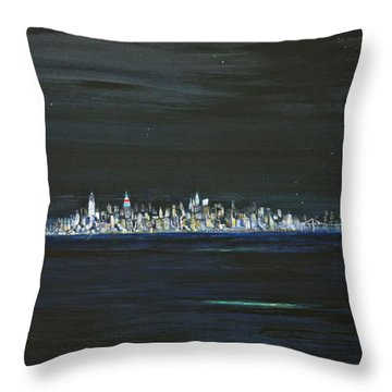 New York City Nights Throw Pillow