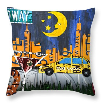New York City Nyc The Big Apple License Plate Art Collage No 1 Throw Pillow By